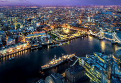 london city, panorama, england, united kingdom, tiver, thames, ship, night, city lights wallpaper