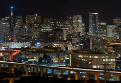 san francisco bay area, san francisco, skyscrapers, california, freeway, city, night, usa wallpaper