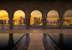 doha, qatar, city, skyscrapers, pool, night wallpaper