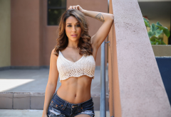 tianna gregory, model, brunette, women, jeans shorts wallpaper