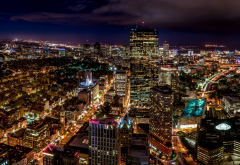 boston, from skywalk observatory, massachusetts, usa, city, night wallpaper