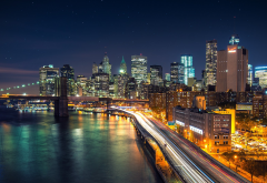 new york city, long exposure, city lights, city, brooklyn bridge, usa wallpaper