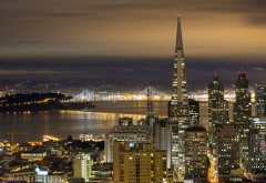 san francisco, night, city, usa, skyscrapers wallpaper