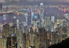 hong kong, skyscrapers, night, city wallpaper