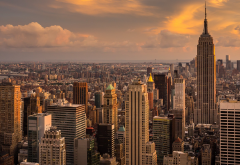 new york, manhattan, empire state building, city, clouds, skyscrapers wallpaper