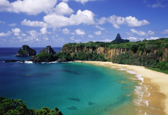 baia do sancho beach, fernando de noronha island chain, brazil beach, cliff, ocean, sea, nature wallpaper