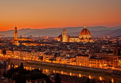 florence, italy, city, florence cathedral, sunset, river, arno, cattedrale di santa maria del fiore wallpaper