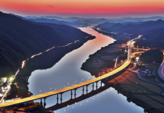 south korea, river, road, bridge, lights, mountains, sunset, aerial view, photography, city wallpaper