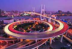 nanpu bridge, shanghai, china, motion blur, road, cityscape, city, night, bridge wallpaper