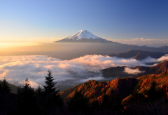 mount fuji, clouds, sky, nature, landscape, sunlight, japan wallpaper