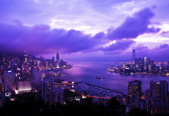 hong kong, city, evening, dawn, skyscrapers, braemar hill, victoria harbour wallpaper