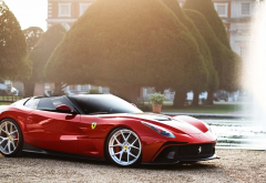 ferrari f12 trs, ferrari, fountain, park, tree, cars wallpaper