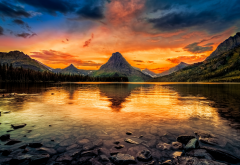 two medicine lake, usa, glacier national park, forest, mountains, lake, sky, glow, sunset, nature wallpaper