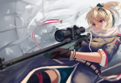 anime, art, girl, sniper, sniper rifle, weapon wallpaper