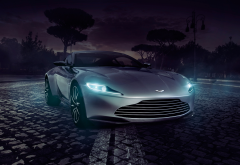 aston martin, cars, night, headlights, dark, aston martin db10 spectre concept wallpaper