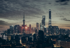shanghai, china, cityscape, city, night, skyscrapers wallpaper
