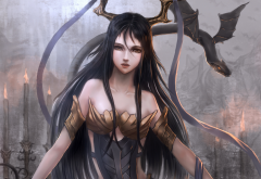 art, sunday-zjy, girl, horns, dragon wings, anime wallpaper