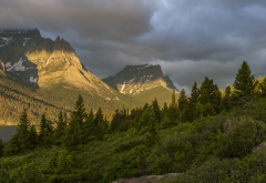 sunrise, mountain panorama, st. marys lake, sun road, glacier national park, montana, usa, mountains, forest, nature wallpaper