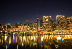 darling harbour, city, harbor, sydney, australia, lights wallpaper