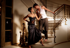 couple, passion, love, relationship, women, black dress, man, guy, stairs, ladder wallpaper
