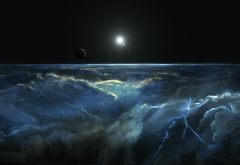 art, space, stars, moon, clouds, thundestorm, lightning wallpaper
