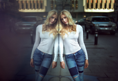 girl, blonde, city, reflection, women, jeans wallpaper