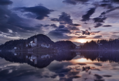 bled lake, slovenia, morning, house, reflection, nature wallpaper