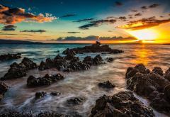 dawn, rocks, sea, landscape, sunset, nature, makena beach wallpaper