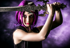 warrior, sword, fantasy, cosplay, purple hairs wallpaper