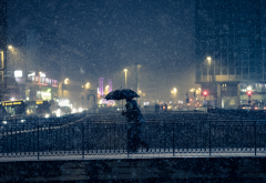 bridge, people, umbrella, bus, lights, snow, dark, city wallpaper