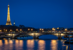 eiffel tower, paris, seine, river, dusk, bridge, lights, france, city wallpaper