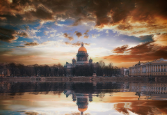 saint-petersburg, city, landscape, autumn, river, reflection, clouds wallpaper