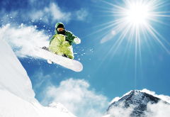 mountains, winter, snowboard, snow, rays of light, sport wallpaper
