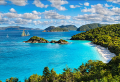 trunk bay, virgin islands national park, virgin islands, sea, island, landscape, clouds, nature, tropical, beach, yacht, ship wallpaper