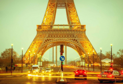 eiffel tower, night, lights, street, cars, city, paris, france wallpaper