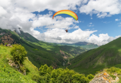 paragliding, sport, extreme, selfie under the dome, mountains, clouds wallpaper