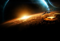 space, spaceship, planet, evacuation, destruction, starcraft 2, video games, art wallpaper