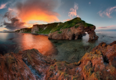 sea, sunset, shore, cliff, clouds, nature wallpaper