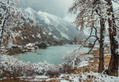 altai, river aktru, russia, winter, snow, mountains, nature wallpaper