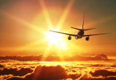 sky, rays, clouds, aircraft, over clouds, airplane, sunset wallpaper