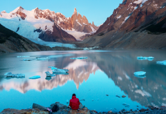 argentina, patagonia, snow, mountains, ice, cerro torre, lake, stones, nature wallpaper