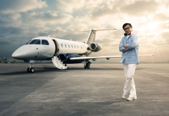 actor, smile, airfield, glasses, jackie chan, private jet, aircraft, aviation, embraer, legacy 500 wallpaper