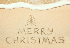 merry christmas, holidays, beach, sand wallpaper