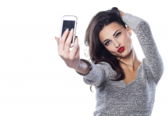 selfie, brunette, red lips, duckface, sweater, women wallpaper