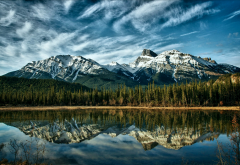 alberta, canada, sky, reflection, lake, mountains, clouds, trees, forest wallpaper