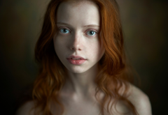 redhead, women, face, portrait, wavy hair, bare shoulders, freckles wallpaper