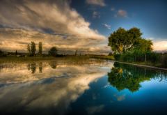 summer, tree, lake, water, clouds, sky, reflection. nature wallpaper