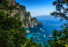 italy, mountains, sea, nature, yacht, summer, capri wallpaper