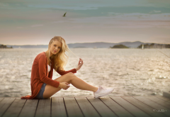 women, sitting, blonde, portrait, sneakers, jeans shorts, sea, pier wallpaper