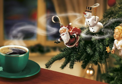 new year, christmas, santa, snowman, christmas tree, coffee wallpaper